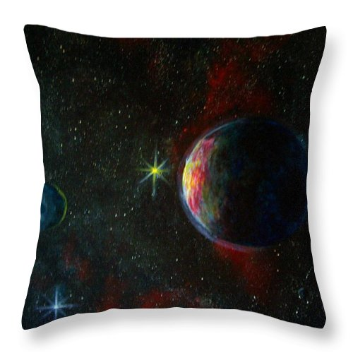 Cosmos Throw Pillow featuring the painting Alien Worlds by Murphy Elliott