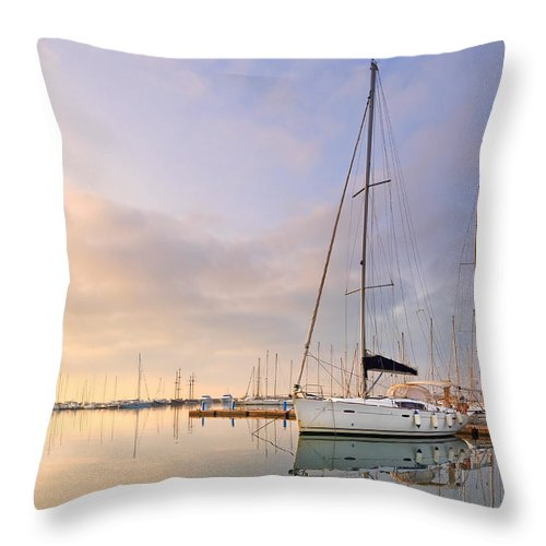 Marina Throw Pillow featuring the photograph Alimos Reflections by Milan Gonda