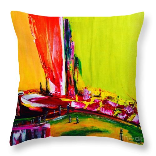 Original Throw Pillow featuring the painting All Aboard by ElsaDe Paintings