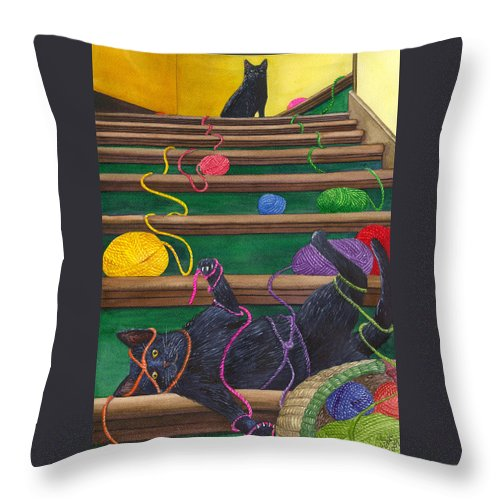 Cat Throw Pillow featuring the painting All Caught Up by Catherine G McElroy
