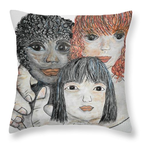 Children Throw Pillow featuring the painting All God's Children by Eloise Schneider Mote