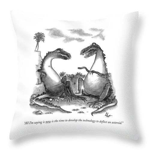Dinosaurs Throw Pillow featuring the drawing All I'm Saying Is Now Is The Time To Develop  by Frank Cotham