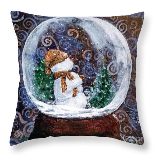 Snowglobe Throw Pillow featuring the painting All Is Calm by Susan Fisher