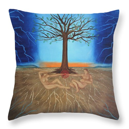 Adam Throw Pillow featuring the painting All Of Creation by Diana Perfect