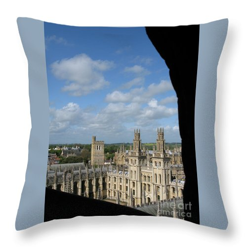 Oxford University Throw Pillow featuring the photograph All Souls College And Beyond by Ann Horn