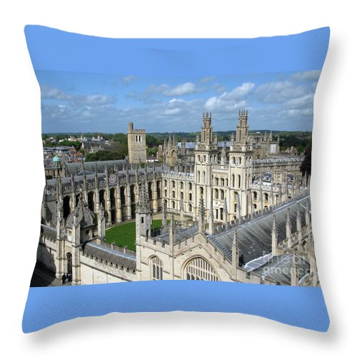 Oxford Throw Pillow featuring the photograph All Souls College by Ann Horn