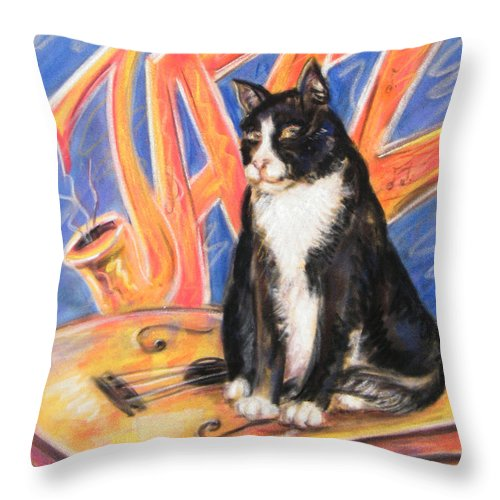 Cat Throw Pillow featuring the painting All That Jazz Cat by Julie Lemons