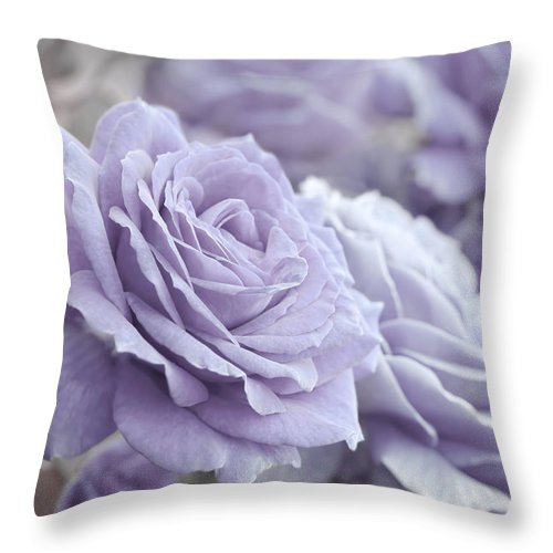 Rose Throw Pillow featuring the photograph All The Lavender Roses by Jennie Marie Schell