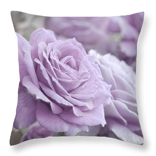 Rose Throw Pillow featuring the photograph All The Soft Violet Roses by Jennie Marie Schell