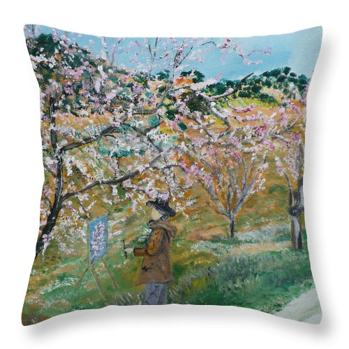 Provence Landscape. Throw Pillow featuring the painting Allee Des Amandiers. by Coco de la garrigue