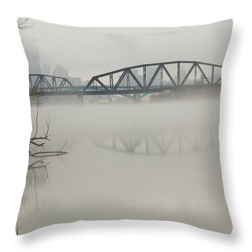 Landscape Throw Pillow featuring the photograph Allegheny In The Mist by Jay Ressler