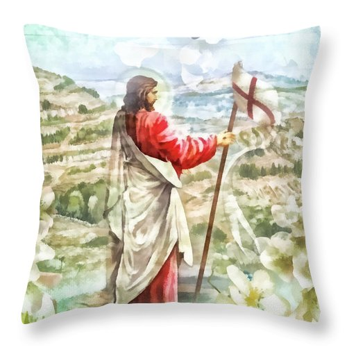 Alleluja Throw Pillow featuring the digital art Alleluja by Mo T