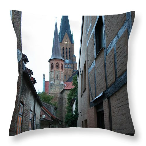 Alley Throw Pillow featuring the photograph Alley In Schleswig - Germany by Christiane Schulze Art And Photography