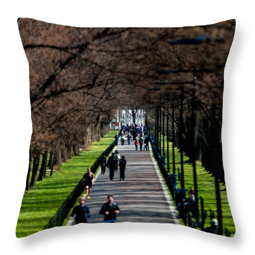 Alley Throw Pillow featuring the photograph Alley Of Trees With Runners And Joggers by Alex Grichenko