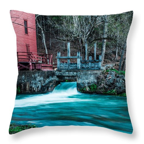 Steven Bateson Throw Pillow featuring the photograph Alley Springs Mill by Steven Bateson