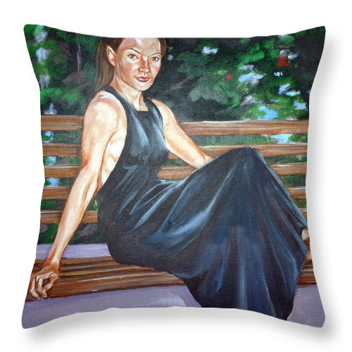 Sexy Throw Pillow featuring the painting Allison Two by Bryan Bustard