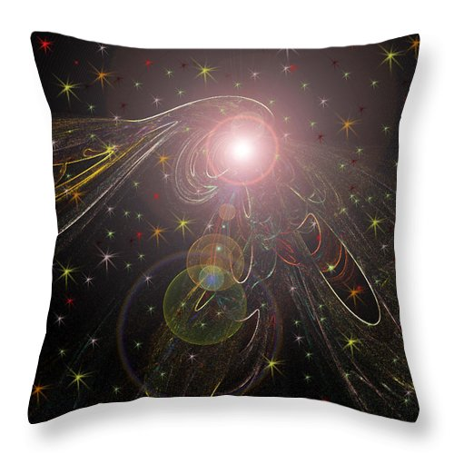 Stars Planet Outter Space Moon Star Nebula Creation Explosion Gasses Black Gold Green Yellow Lime Color Colourful Shining Imaginary World Throw Pillow featuring the digital art Alluring Light by Andrea Lawrence