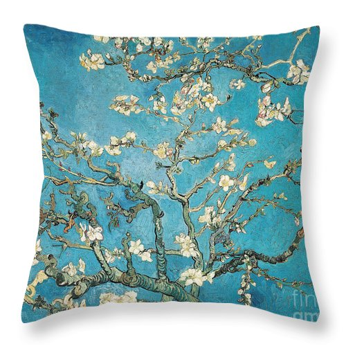 Van Throw Pillow featuring the painting Almond branches in bloom by Vincent van Gogh