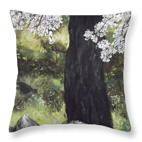 Tree Throw Pillow featuring the painting Almond Tree in Spring by Lizzy Forrester
