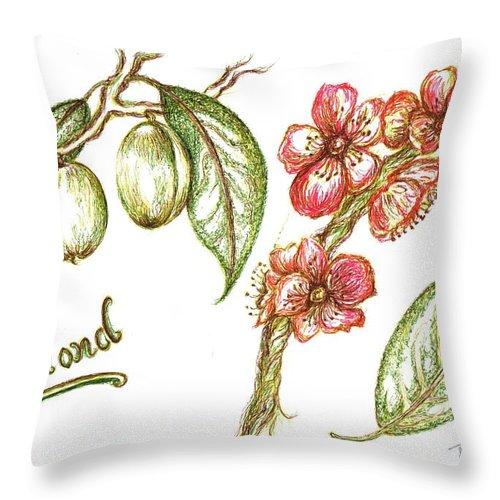 Teresa Throw Pillow featuring the drawing Almond With Flowers by Teresa White