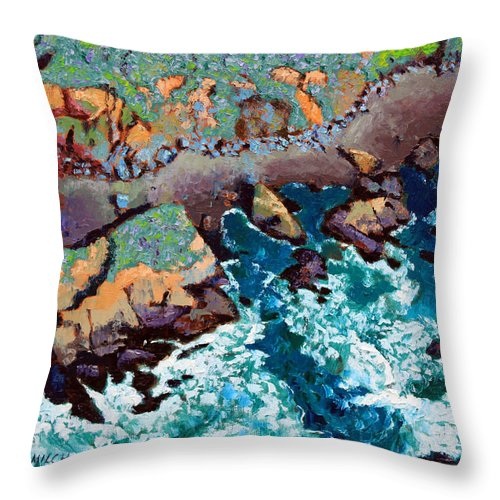 Ocean Throw Pillow featuring the painting Along California Coastline by John Lautermilch