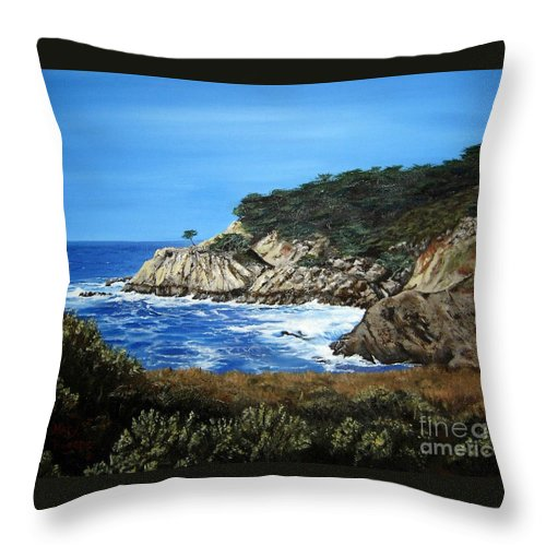 Landscape Throw Pillow featuring the painting Along The California Coast by Mary Rogers