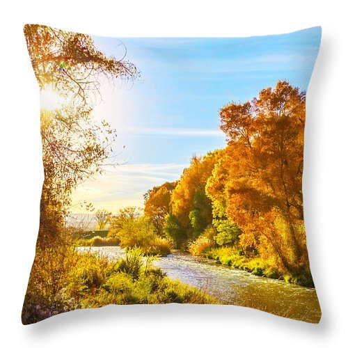 River Throw Pillow featuring the photograph Along The River by Rick Wicker