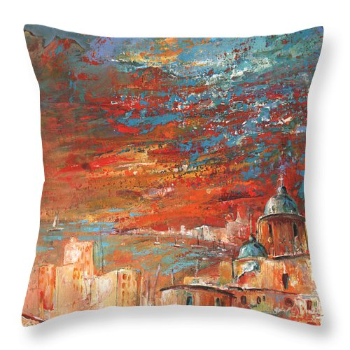Travel Throw Pillow featuring the painting Altea 08 by Miki De Goodaboom