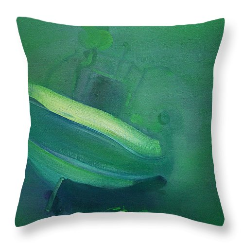 Fishing Boat Throw Pillow featuring the painting Alvor Working Boat by Charles Stuart