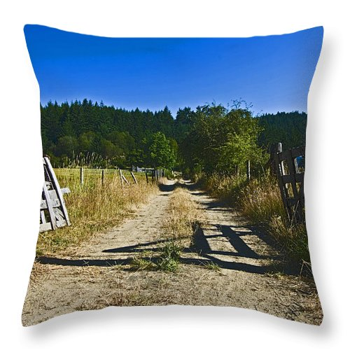 Wooden Gate Throw Pillow featuring the photograph Always Open by Rob Mclean