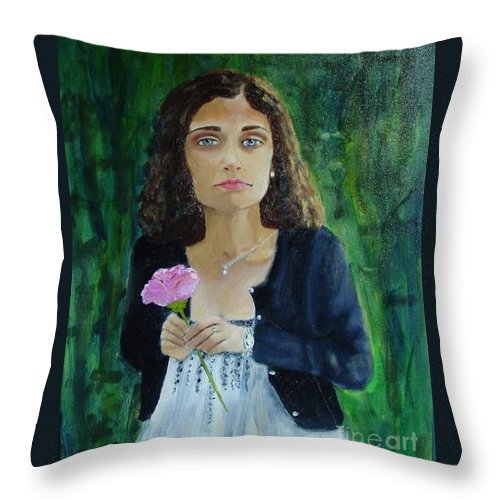 Portrait Throw Pillow featuring the painting Aly by Laurie Morgan