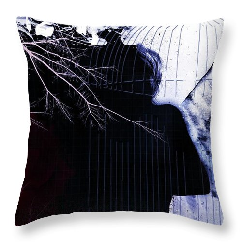 Cage Throw Pillow featuring the digital art Am I Lost by Ankeeta Bansal