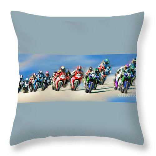 Ama Superbike Throw Pillow featuring the photograph Ama Superbike Grid by Blake Richards