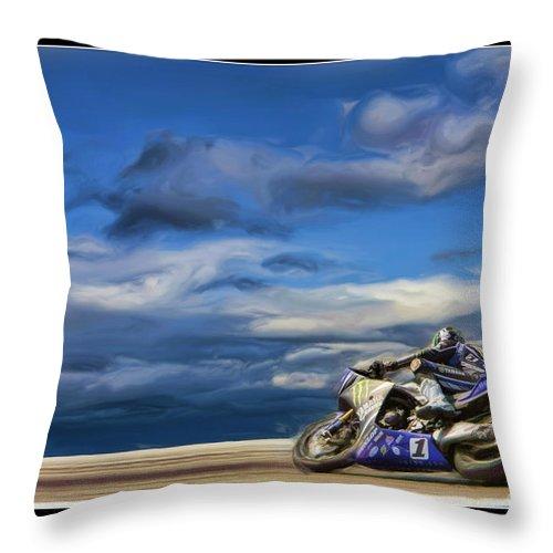 Ama Superbike Throw Pillow featuring the photograph Ama Superbike Josh Jayes by Blake Richards