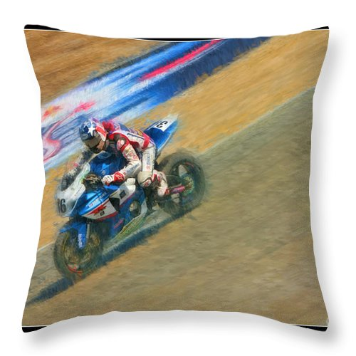 Ama Superbike Throw Pillow featuring the photograph Ama Superbike Martin Cardenas by Blake Richards