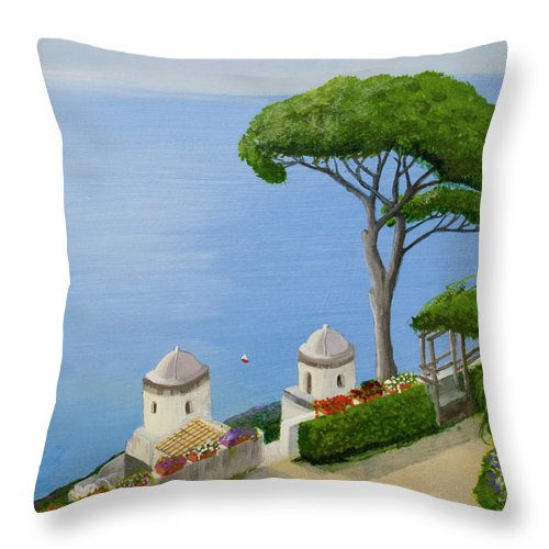 Amalfi Throw Pillow featuring the painting Amalfi Coast From Ravello by Mike Robles
