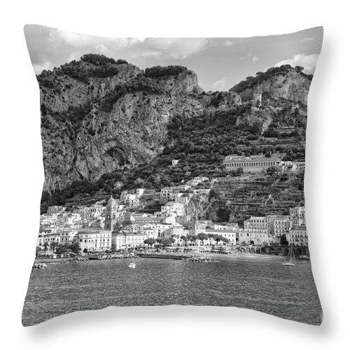 Black And White Amalfi Photo Throw Pillow featuring the photograph Amalfi Coast Monochrome by Kate McKenna
