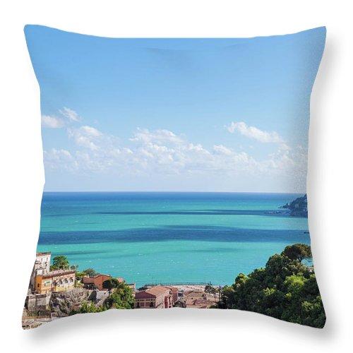 Scenics Throw Pillow featuring the photograph Amalfi Coast Landscape Vietri Village by Angelafoto