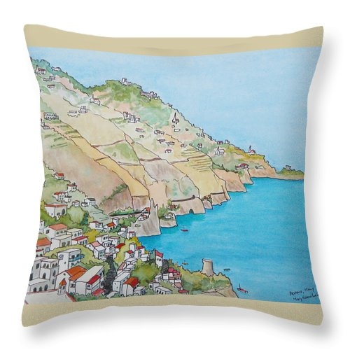 Landscape Throw Pillow featuring the painting Amalfi Coast Praiano Italy by Mary Ellen Mueller Legault