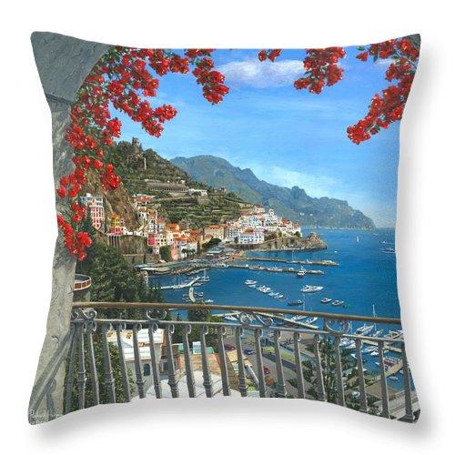 Landscape Throw Pillow featuring the painting Amalfi Vista by Richard Harpum