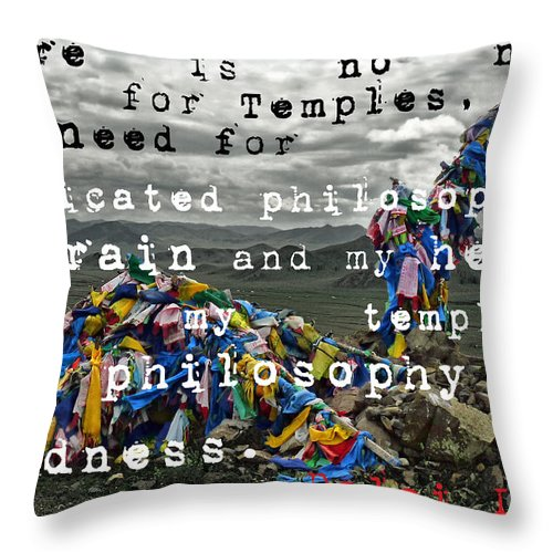 Throw Pillow featuring the photograph Amarbayasgalant Monastery- Mongolia by Karla Weber
