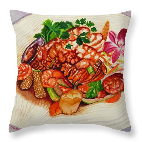 Amazing Thai Jewels Of Sea Lobster Throw Pillow featuring the painting Amazing Jewels Of The Sea by Susan Duda