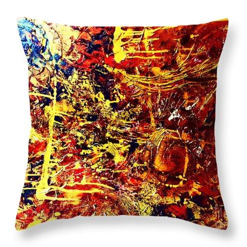 Textured Throw Pillow featuring the painting Amber Wonderland by Kusum Vij