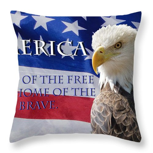 American Throw Pillow featuring the photograph America Land Of The Free by Alan Hutchins