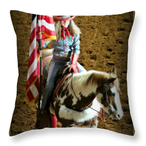 Rodeo Throw Pillow featuring the photograph America -- Rodeo-style by Stephen Stookey