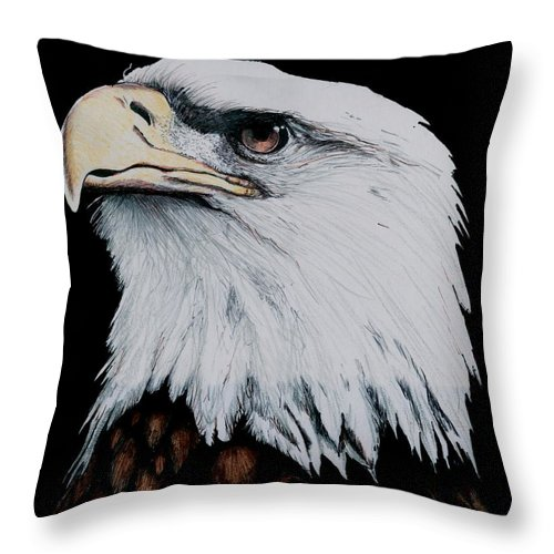 Pen Throw Pillow featuring the drawing American Bald Eagle by Bill Richards