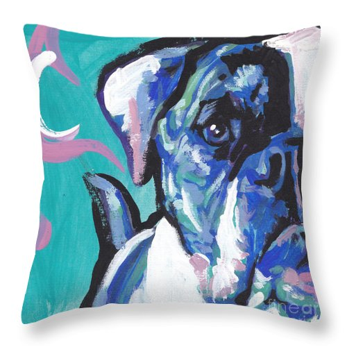 American Bulldog Throw Pillow featuring the painting American Bully Boy by Lea S
