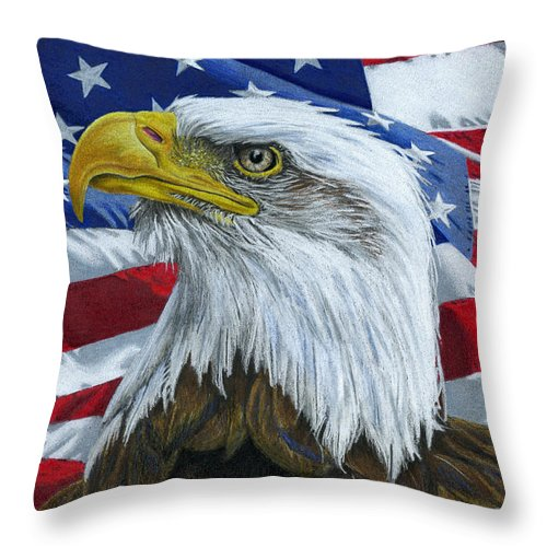 American Eagle Throw Pillow featuring the painting American Eagle by Sarah Batalka