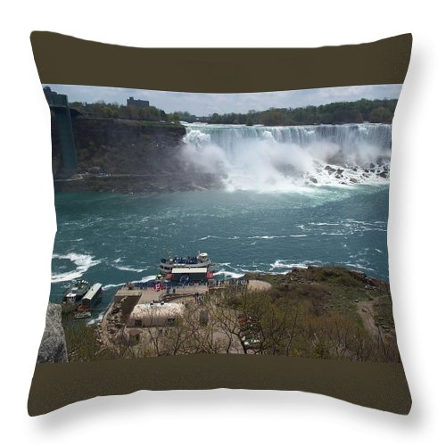 Niagara Falls Throw Pillow featuring the photograph American Falls From Above The Maid by Barbara McDevitt
