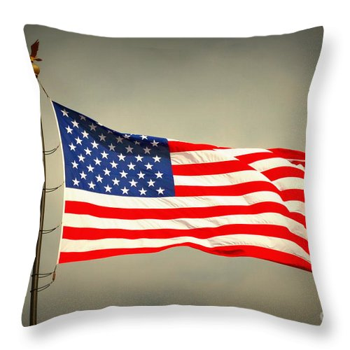 Flag Throw Pillow featuring the photograph American Flag by Derry Murphy